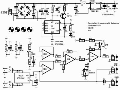 Potentialfreie Strommessung für Oszilloskope schematic (150170-1 v1.1)