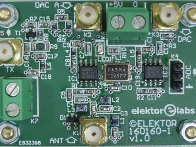 Top view of RF Board (160160-1 v1.0) for FPGA DSP Board (150177-1)