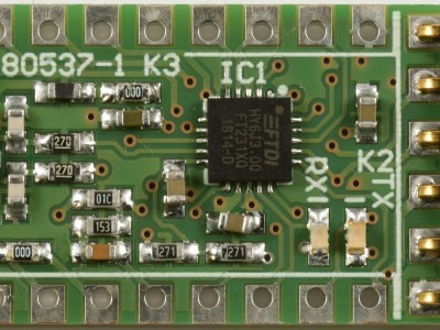 Top view of USB-RS232 converter PCB 180537-1 v1.0