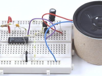 Prototype of the acoustic IR-remote control tester on a breadboard