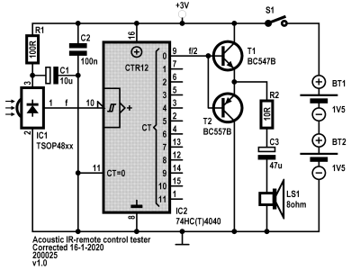 Schematic of acoustic IR-remote control tester v1.0
