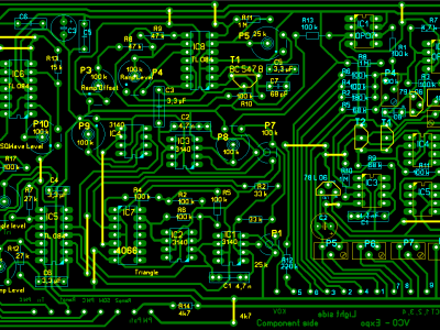 Component side of the VCO-Expo-board