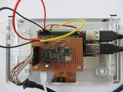 """DXM add-on breadboard attached to Pi 2 with 7"""" touchscreen"""