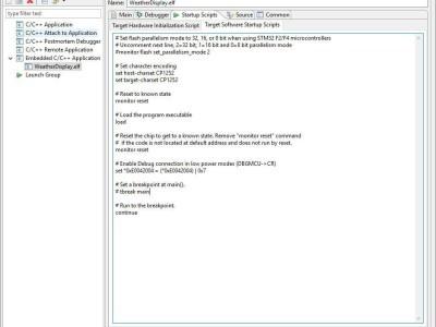 Debug configuration, Startup Scripts Tab
