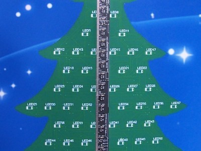 The Raspberry Pi Ruler Gadget mounted on the cardboard Christmas tree