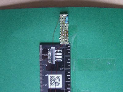Breadboard on the back side for the two additional LEDs