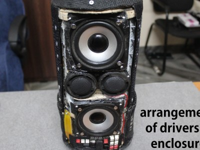Arrangement of the drivers at the rear portion of the completed speaker