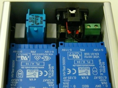 Inside view of the mains side of the power supply
