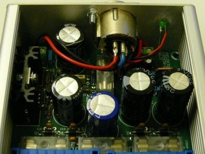 Inside view on the output connector of the power supply