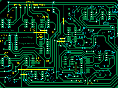 Component side of S&H/LFO board. See text.