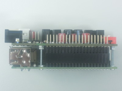 Side view on extension header of prototype of Audio DAC for RPi (160198-1 v1.0)