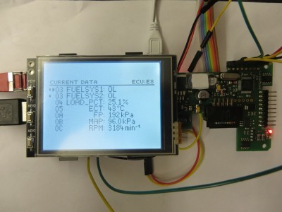 "DIAMEX Pi-OBD add-on board attached to Pi 3 with 3.2"" touchscreen"