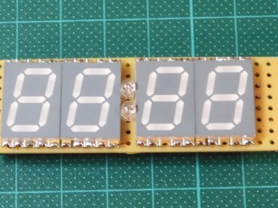 Front of the prototype with low-profile 17mm LED displays.