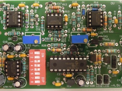Top view on first prototype of the bata detector (PCB150346-1 v1.0)