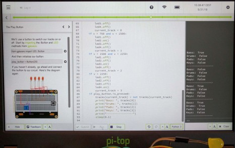 pi-topCODER doing Music Maker