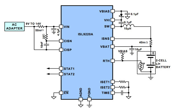 Application circuit for Intersil's 9220 Li-ion battery charger IC