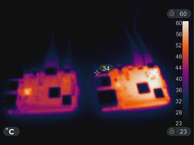 RPi3B+ (links) en RPi4 (rechts) vergeleken