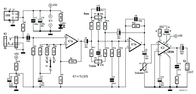 Schematic of the KaraOkay mic amp