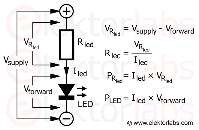 LED current limiting resistor calculation