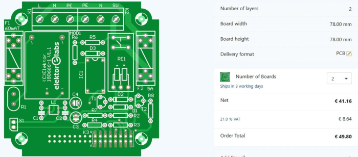 Placing an order on ElektorPCB4Makers.com