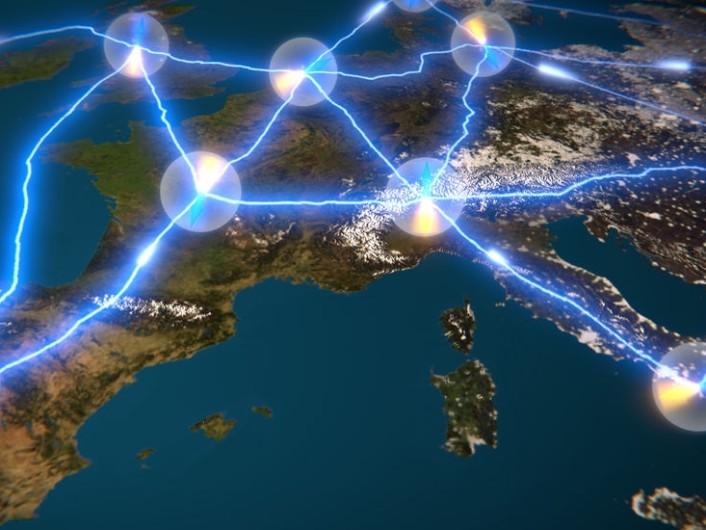 Artists impression van een quantum-internet (afbeelding: TU Delft).