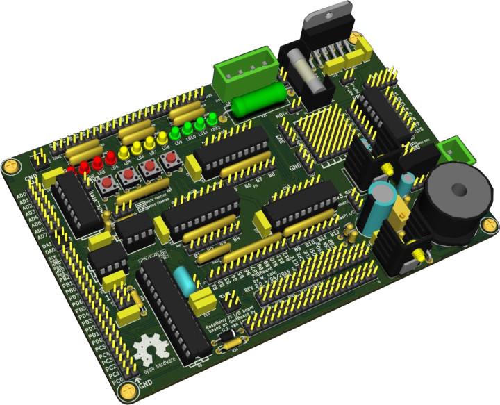 KiCad 3D rendering of board