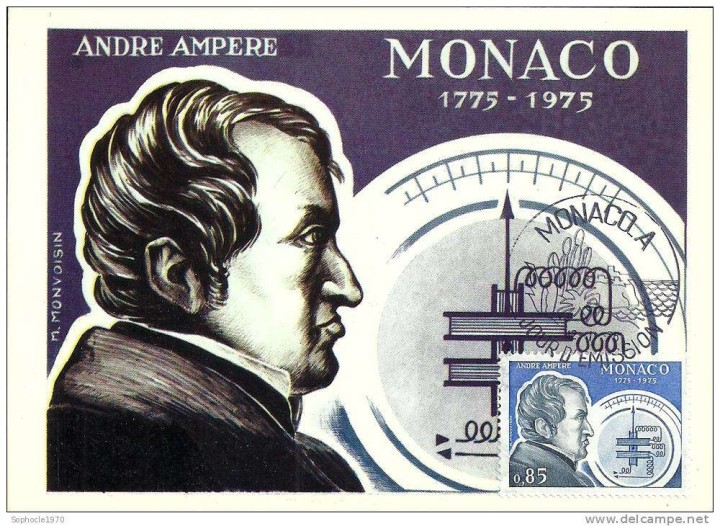 André-Marie Ampère on a stamp from Monaco