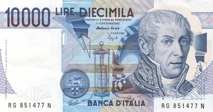 10,000 lire banknote with Volta's face on it