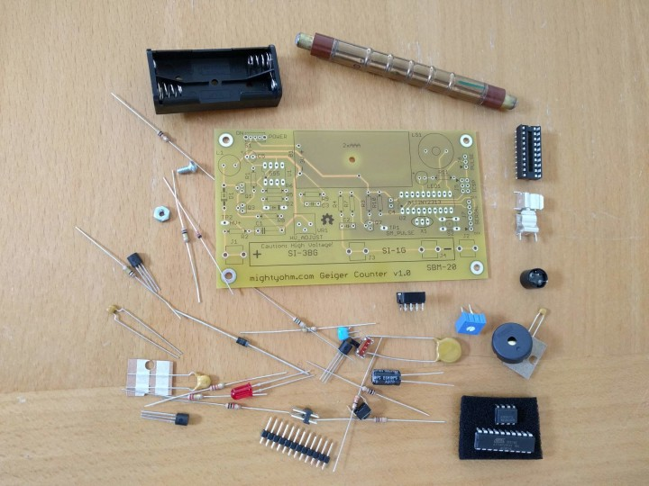 MightyOhm geiger counter kit electronic parts