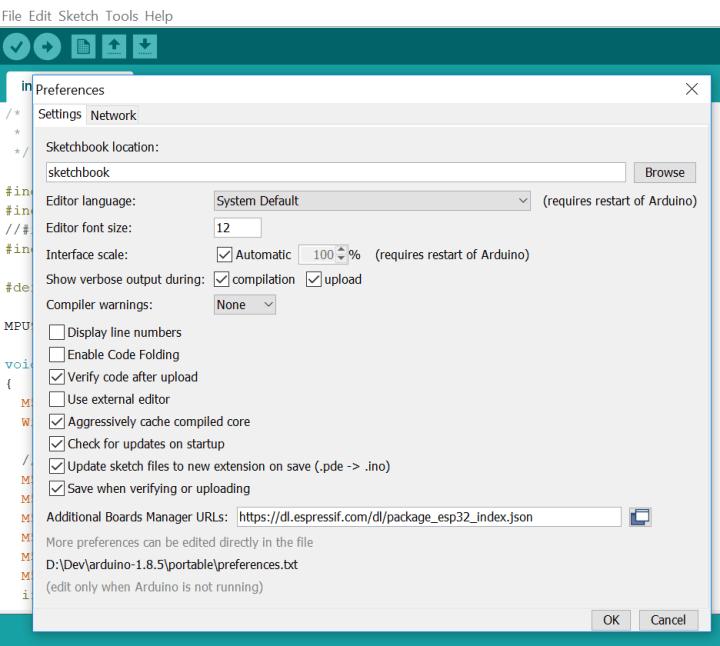 Arduino IDE preferences