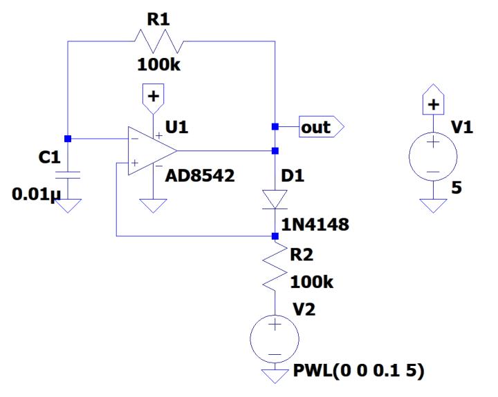 Single-opamp voltage-controlled oscillator (VCO).