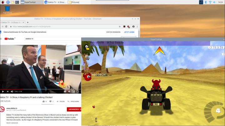 Op de desktop van de RPi4 draaien een 3D-spel en een video in de browser