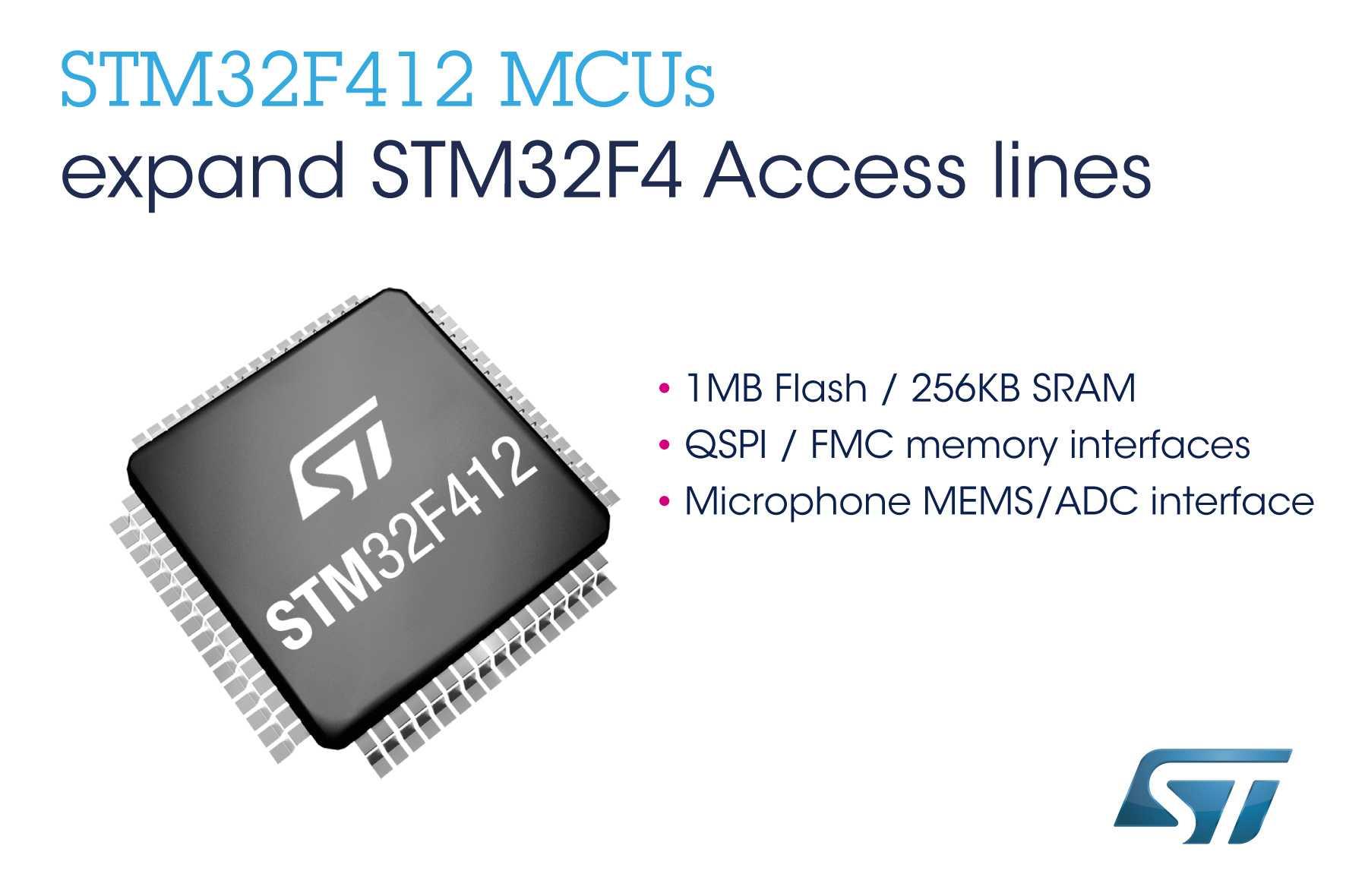 STM32F412 MCUs expand STM32F4 Access lines