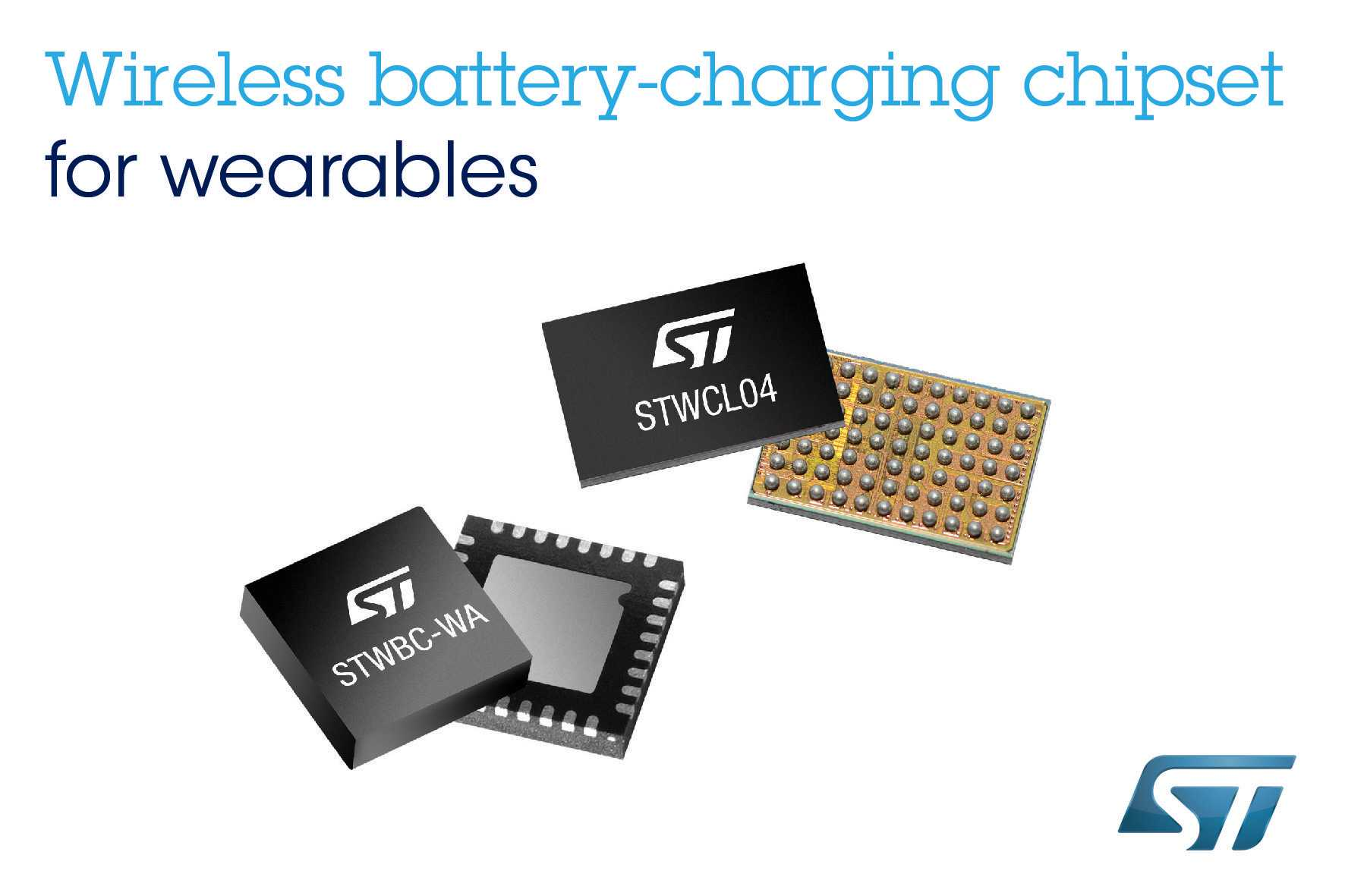 STMicroelectronics wireless battery-charging chipset for wearables
