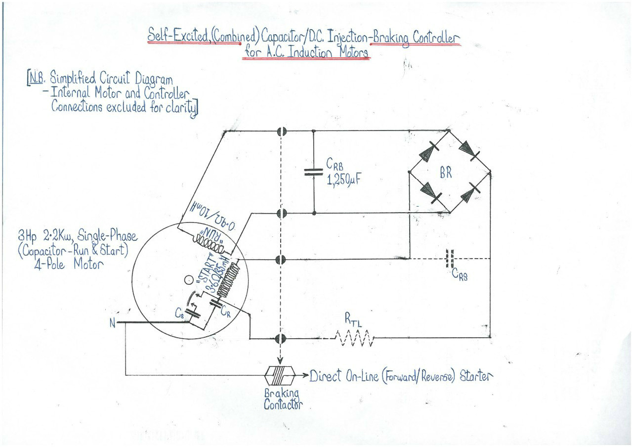 Single Starter Circuit Diagram Novel Self Excited Capacitor Dc Injection Braking Control For An Ac Motor Elektor Labs Magazine