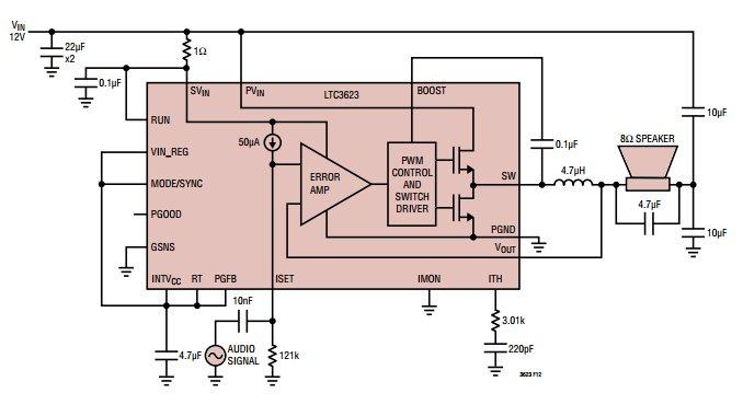 LTC3623 switching voltage regulator application
