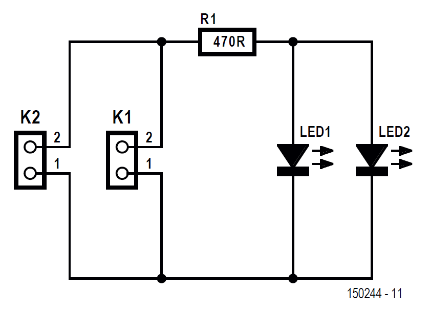 The schematic of the Lego compatible LED PCB