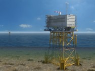 Artist impression of an offshore transformer station for Borssele Alpha project (700 MW). Courtesy: TenneT