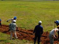 """""""Cable Dawgs"""" der 18. Kommunikationseinheit verlegen Glasfaserkabel auf dem japanischen Kadena-Flugplatz."""