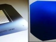 G: Arrière de la cellule (sur une plaquette de silicium plus grande), avec les contacts + et –. D: Avant de la cellule sans ombrage. Source : Mediacom / EFPL / CSEM