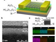 a) Nieuw transistortype met negatieve capaciteit b) elektronentransmissiemicroscopie c) Röntgenfoto van de energieverdeling Afbeelding: Mengwei Si / Purdue University