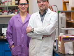 University of Calgary PhD student Monika Stolar and professor Thomas Baumgartner are part of a group in the Department of Chemistry working to create carbon-based batteries. Photo by Riley Brandt, University of Calgary.
