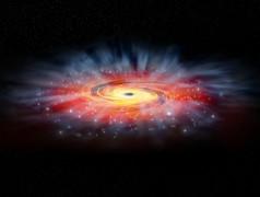 Künstlerische Freiheit: So könnte die Umgebung des Schwarzen Lochs Sagittarius A+ aussehen (Bild: NASA/CXC/M.Weiss).