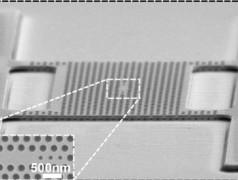 """Ein mit einem Elektronenmikroskop erstelltes Bild der perforierten Membran mit der """"photonischen Kristallhöhle"""", der Unterbrechung des Lochmusters. Unten links ein Detail dieser """"Lichtfalle"""". (Foto: TUEindhoven.)"""