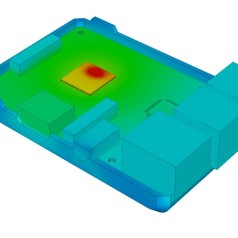 Thermal simulation highlights processor as clear hotspot. Image: Tom Gregory, 6SigmaET.