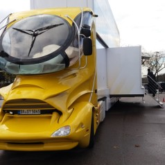 Designer truck loaded with high-tech demos roams Western Europe