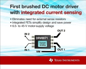 The DRV8871 has current sense and H-bridge driver built-in