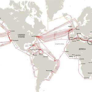 Map of submarine internet cables. By Alexander van Dijk. CC-BY license.