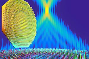 Metalinse aus Titandioxid-Nanostrukturen für sichtbares Licht. Quelle: Peter Allen; SEAS.