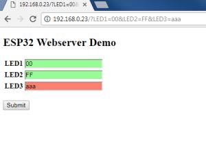 Eine kleine Demo zum Eingeben von Einstellungen. Die Webseite wird vom ESP32-Webserver ausgeliefert.